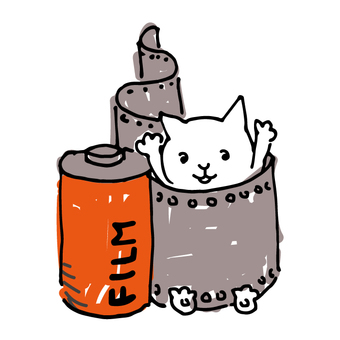 一隻貓在電影上玩的手繪風格插圖