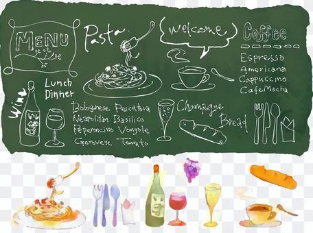 粉筆藝術咖啡館風格的插圖