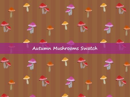 Swatch material: colorful mushrooms