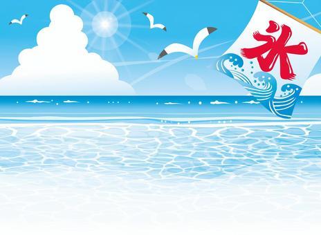 夏天海風景和被刮的冰旗子