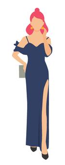 海軍藍色開slit連衣裙的女人