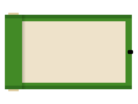 Flat Japanese-style roll frame: green