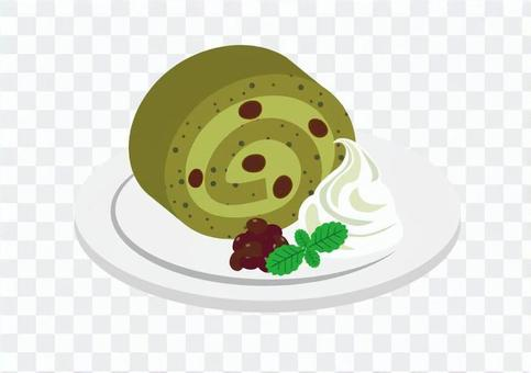 Roll cake with matcha red beans