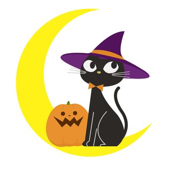 Halloween Black Cat, Moon and Jack O Lantern