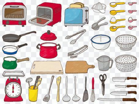 廚房工具塗鴉風格