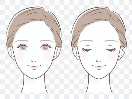 女性的臉(閉上眼睛和睜開眼睛的裝置)