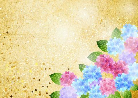 日本紙風格繡球金箔背景水平