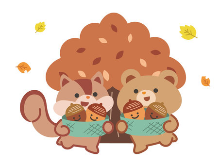 橡子採摘松鼠和熊秋葉背景