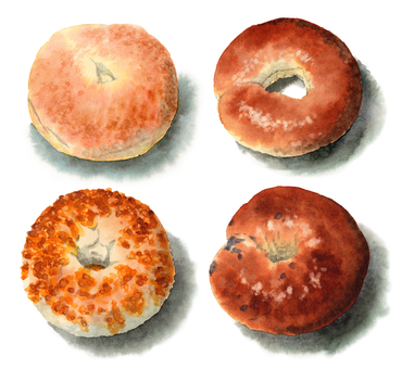 4 種模擬水彩百吉餅