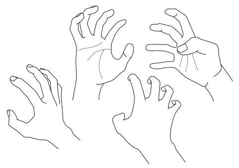手繪線描素材 12 強力手抓