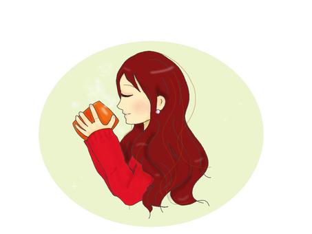 따뜻한 음료를 마시는 여성