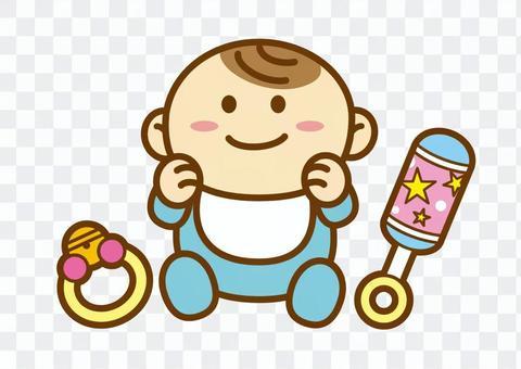 赤ちゃんとおもちゃ 線あり