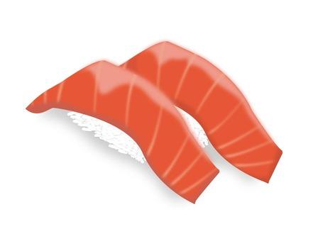 Two sushi sticks tuna