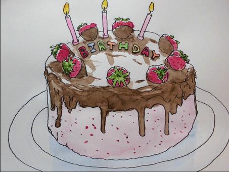 生日蛋糕(素描風格)