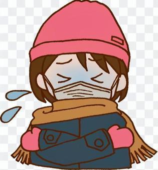 一個寒冷而寒冷的女孩