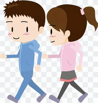 散步(男人和女人)