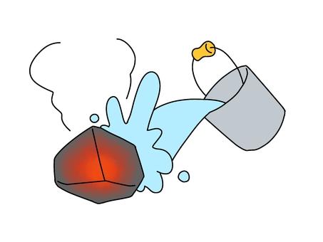 燒焦的石頭上的水