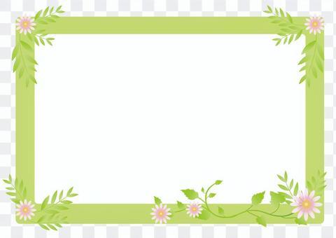 新鮮的綠葉和花框架