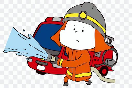 消防員和消防車