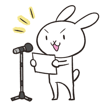Rabbit looking at paper and giving a speech
