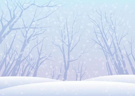 雪景色、背景、A4横、塗足付