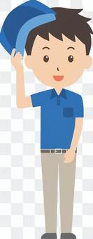 Courier service | Delivery person | work clothes | greeting