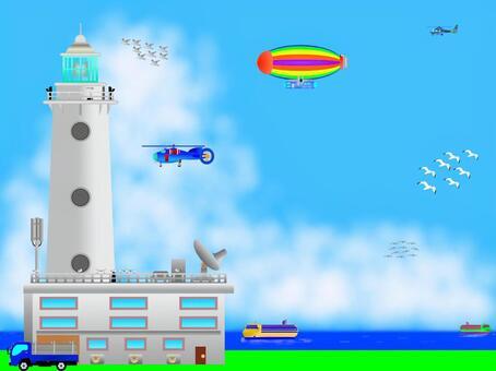 一架新的直升機在一座新的燈塔上