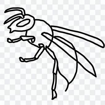 Horror wasp (line art)