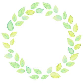 Watercolor leaf frame circular