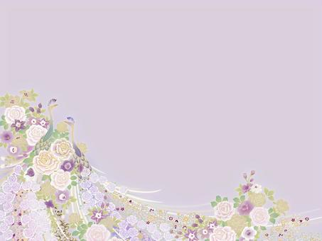 孔雀と小花のテンプレート