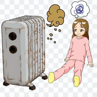 Broken oil heater and girl, no background