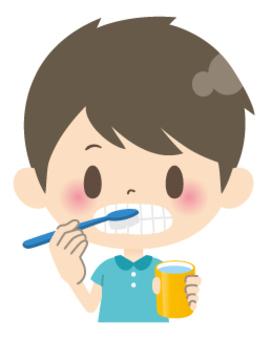 Elementary school low school boys * Health _ Toothbrushing