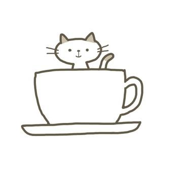 咖啡杯和貓