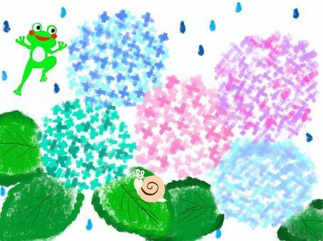 紫陽花とカエルとカタツムリ