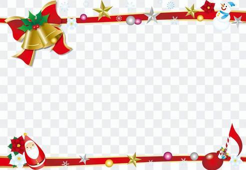 絲帶和貝爾的聖誕框架背景白色