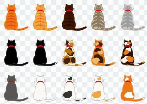 貓(15個帶有輪廓的後視圖)