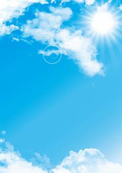 背景藍天陽光太陽雲明信片