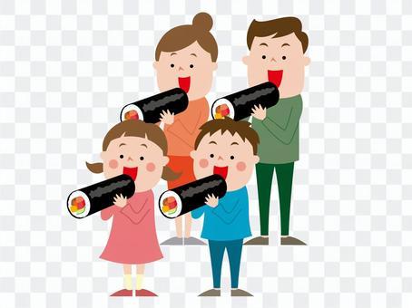 Setsubun Eho卷圍繞父母和孩子