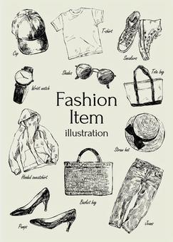 Illustration of fashion items