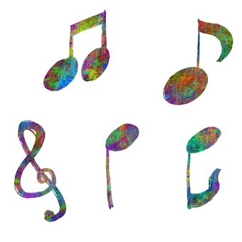 Colorful musical note set