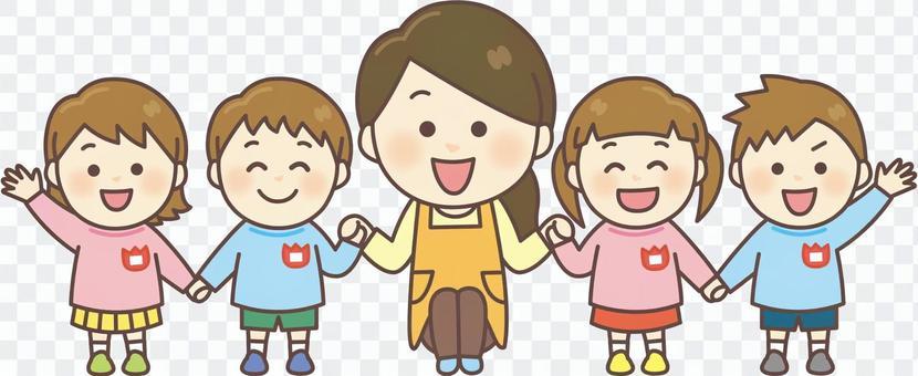 幼兒園老師和孩子們