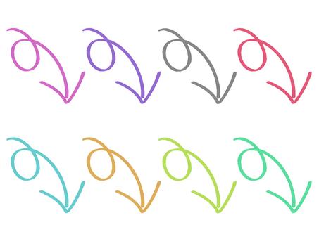 下落的五顏六色的箭頭