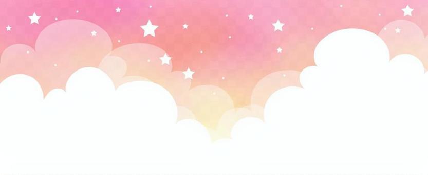 繁星點點的天空,烏云密布粉紅色