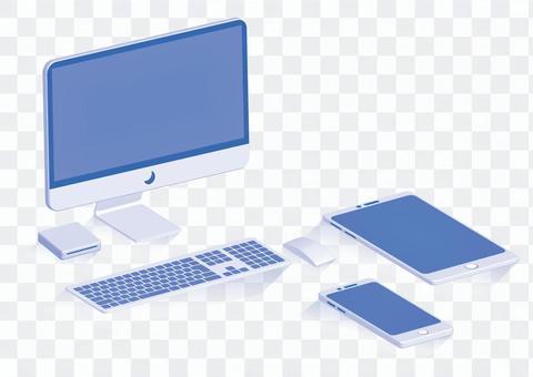 台式電腦外圍設備藍色