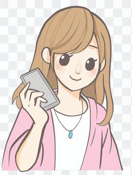一個智能手機的女人