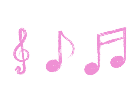 Handwritten treble clef & note set: brush x pink