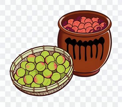 梅子,醃製的罐子和漏勺