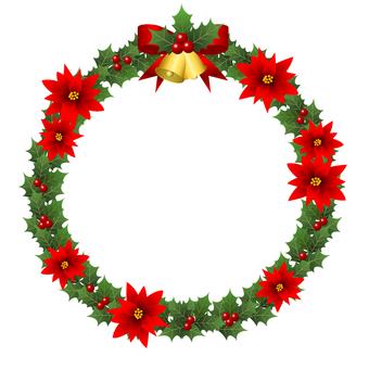 綠色冬青和一品紅聖誕花環