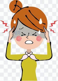 頭痛痛苦的上頭女人