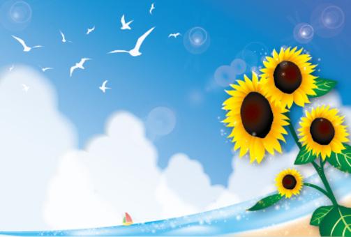 Blue sky, sea and seagull sunflower